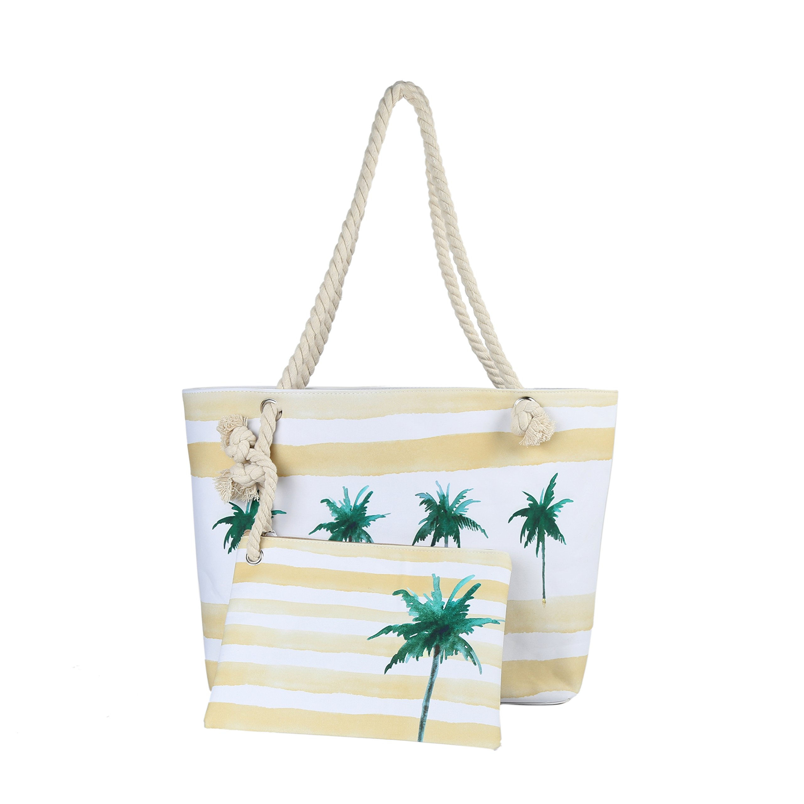 Inpluser Beach Tote Bag Extra Large with Waterproof Small Bag Travel Shoulder Rope Bag 2 Pieces Set (Coconut tree-Yellow)