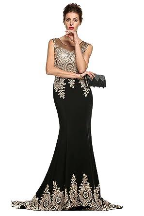 1ef2ad27e4263f Zearo Abendkleider Damen Partykleider Stickerei Elegante Kleider Luxus Abendmode  Schöne Ballkleider Ärmellos Voll Lang