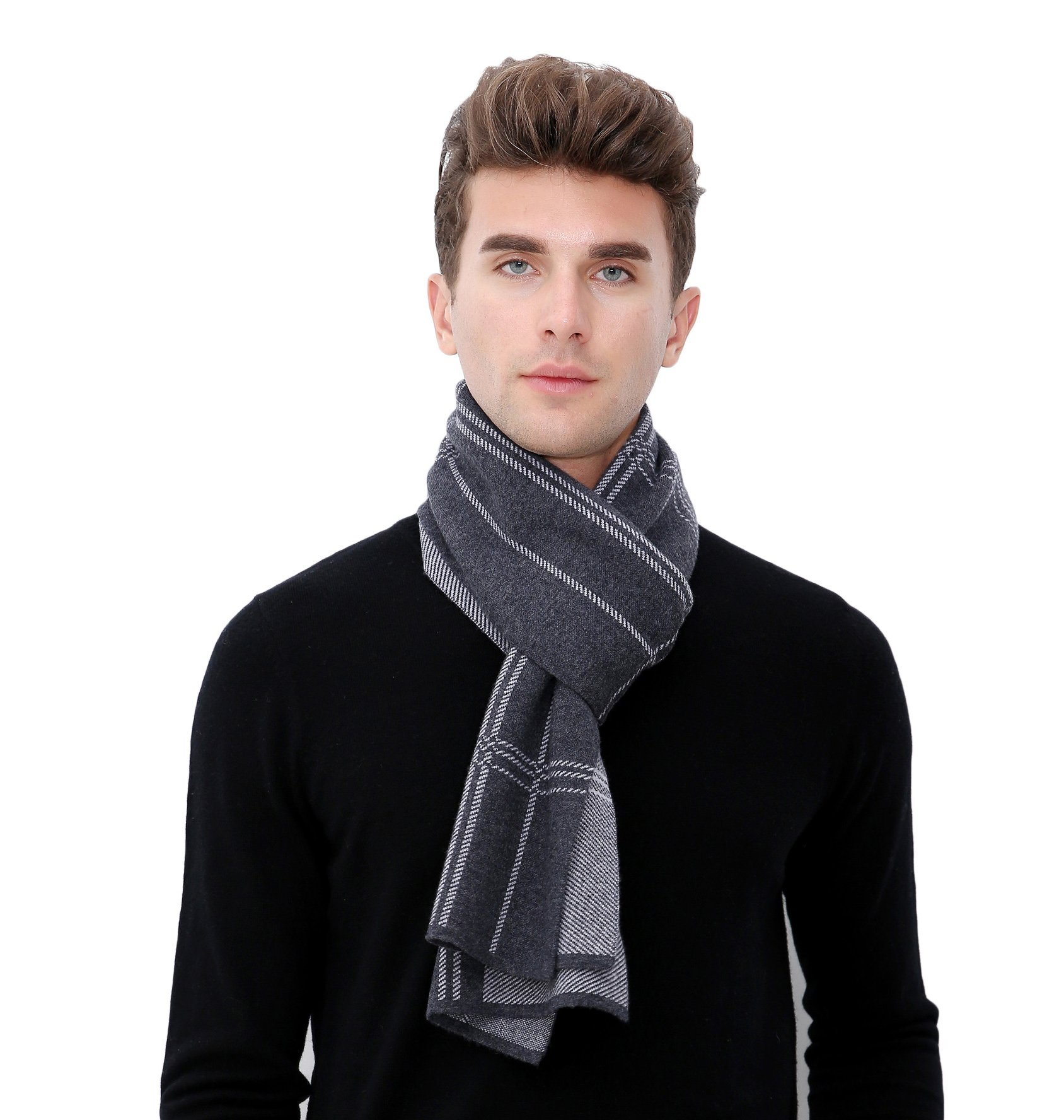 RIONA Men's Australian Merino Wool stripe Knitted Scarf - Soft Warm Gentleman Neckwear with Gift Box(Grey)