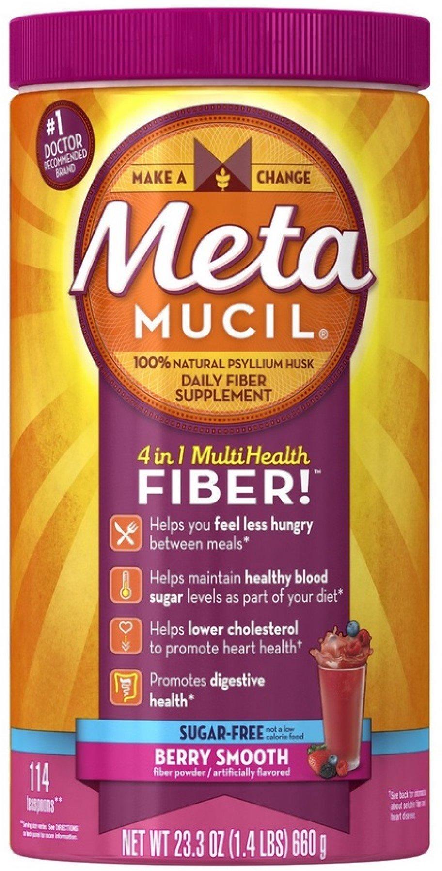 Metamucil Smooth Texture Berry Burst Sugar-Free 114 Each (Pack of 5)