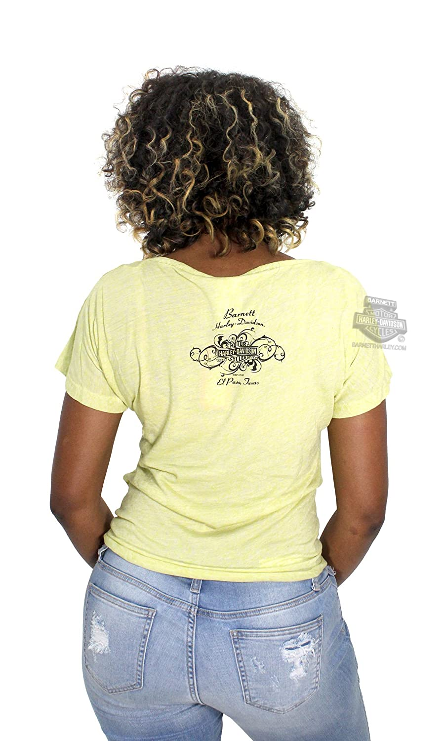 ee28f805aa3 Harley-Davidson Womens All Real B&S Dolman with Tie-Front Short Sleeve T- Shirt (Small) at Amazon Women's Clothing store: