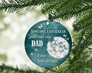"""""""N/A"""" 3"""" Sometimes I Just Look Up Smile and Say Ornament Custom Name Ornament Personalized Christmas Ornament Family Sign for Home Ceramic Christmas Tree Ornaments"""