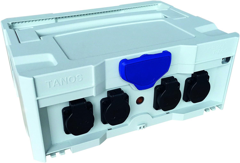 Tanos Stromverteiler SYS-PH lichtgrau mit 4 Steckdosen und Verlängerungskabel Systainer Baustrom
