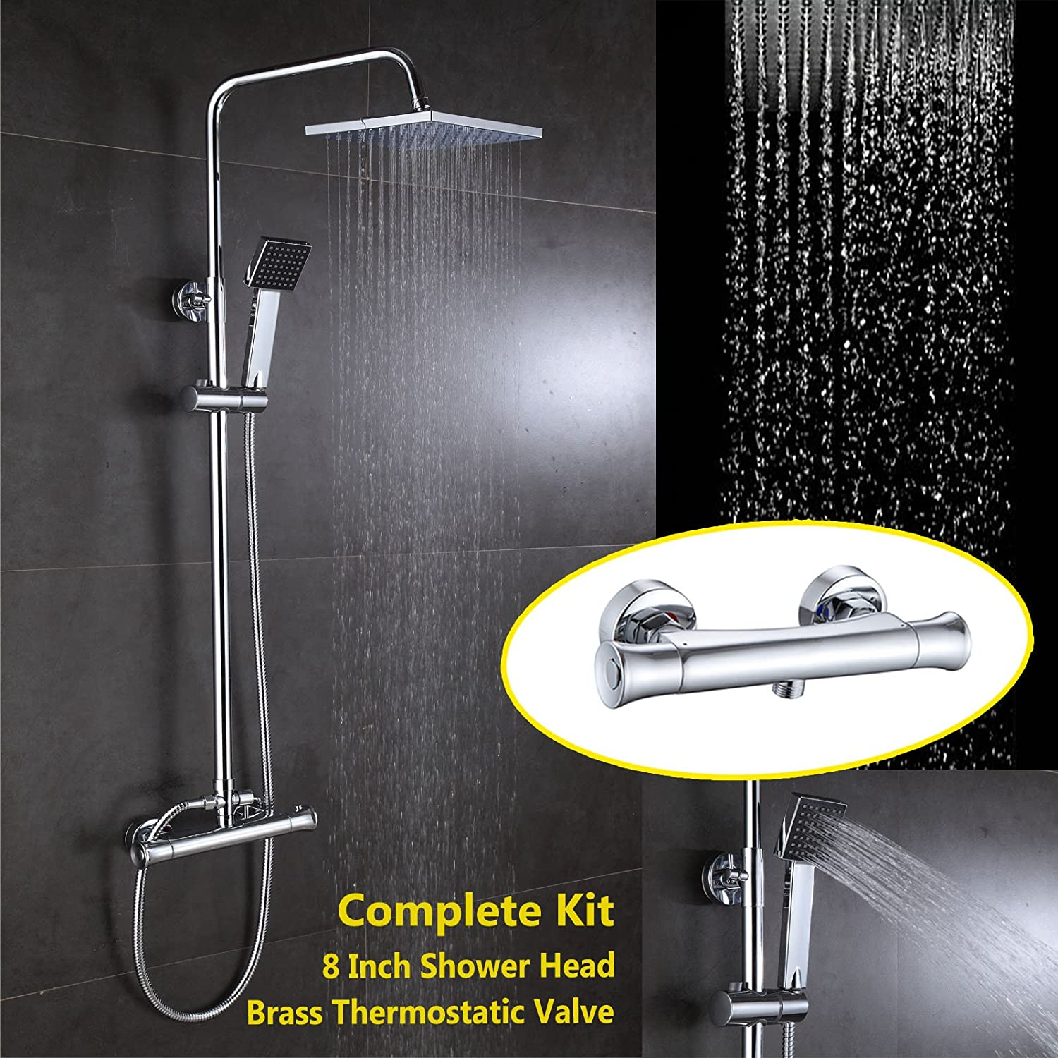 BAR CHROME THERMOSTATIC CONTROL SHOWER VALVE MIXER TAP SET /& RAIL HOSE HEAD KIT