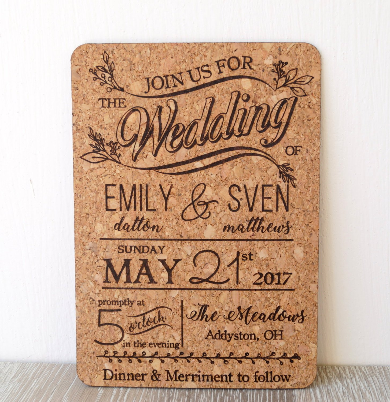 Amazon.com: Rustic cork wedding invitation, wedding invites, natural ...