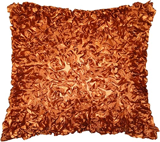Violet Linen Silky Taffeta Abstract 3D Design Decorative Throw Pillow Taupe