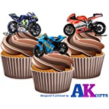 Moto GP Motorbikes Ducati Suzuki Yamaha Mix 12 Edible Wafer Cup Cake Toppers Decorations