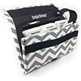 Coupon Organizer for Grocery Shopping Holder for Coupons, Canvas Chevron Pattern, Grey Color