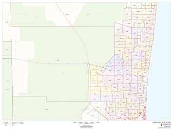 Map Of Broward County Florida.Amazon Com Broward County Florida Zip Codes 48 X 36 Paper