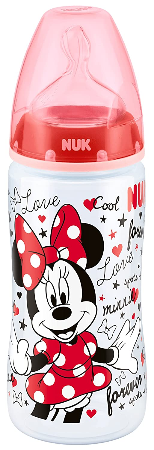NUK First Choice+ Disney Mickey/ Minnie 300ml Bottle with 6-18mths Silicone Teat (Designs may vary) 10741635