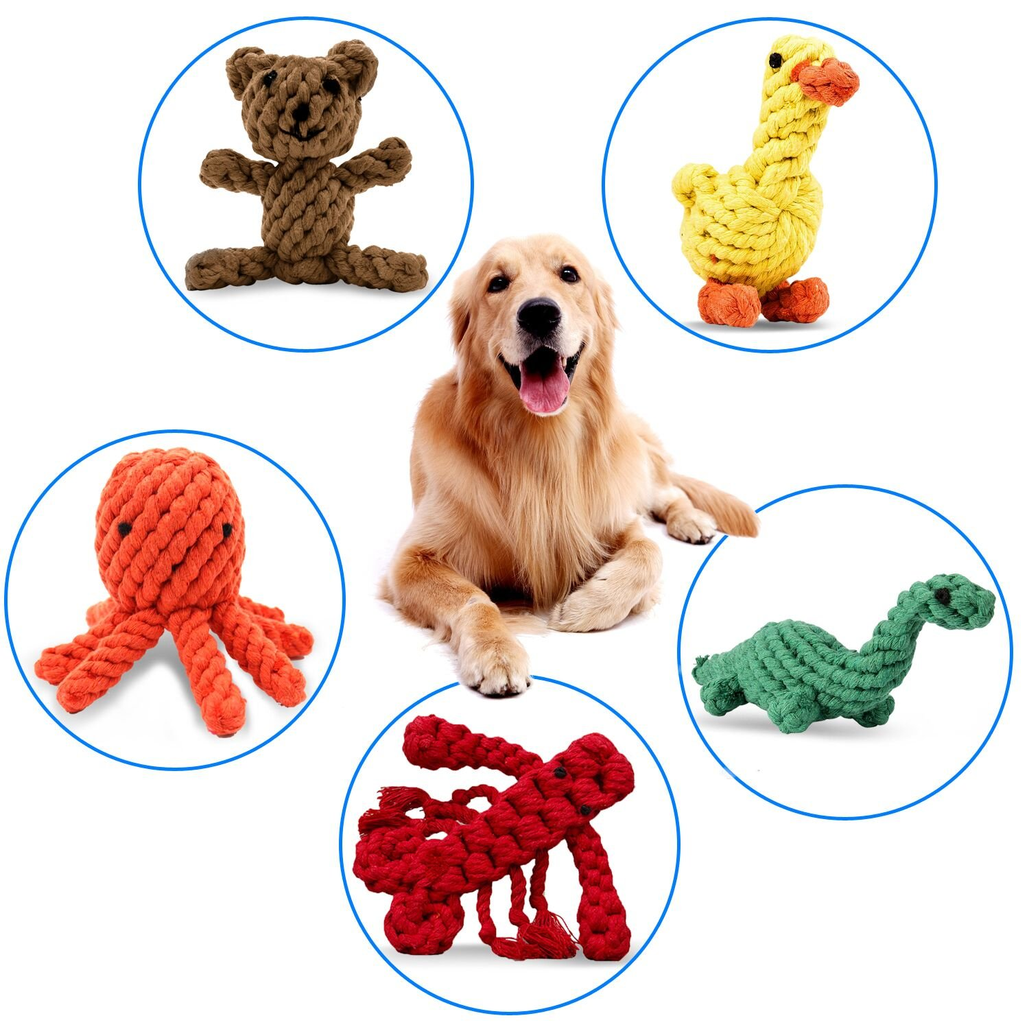 PEHOST Dog Rope Toys Animal Design Cotton Rope Dog Toys for Puppy Pet Play Chew and Training (Set of 5)