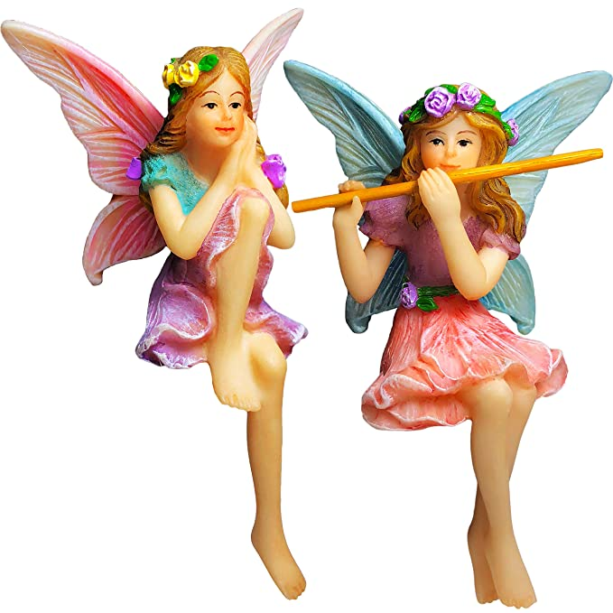 Mood Lab Fairy Garden - Miniature Fairies Figurines - Sitting Girls Set of 2 pcs - Decorations Statue Kit