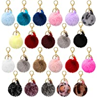 22 Pieces Pom Poms Keychain Fluffy Faux Fur Pompoms Keychains with Tassel Pendants Colorful Pompoms Ball Tassel Keyrings…