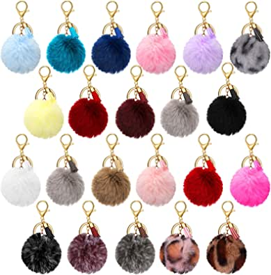 22 Pieces Pom Poms Keychain Fluffy Faux Fur Pompoms Keychains with Tassel Pendants Colorful Pompoms Ball Tassel Keyrings for Girls Women Bag Craft DIY Supply