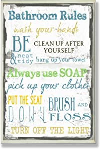 """The Stupell Home Decor Collection """"Bathroom Rules Oversized Typography Bathroom Wall Plaque"""