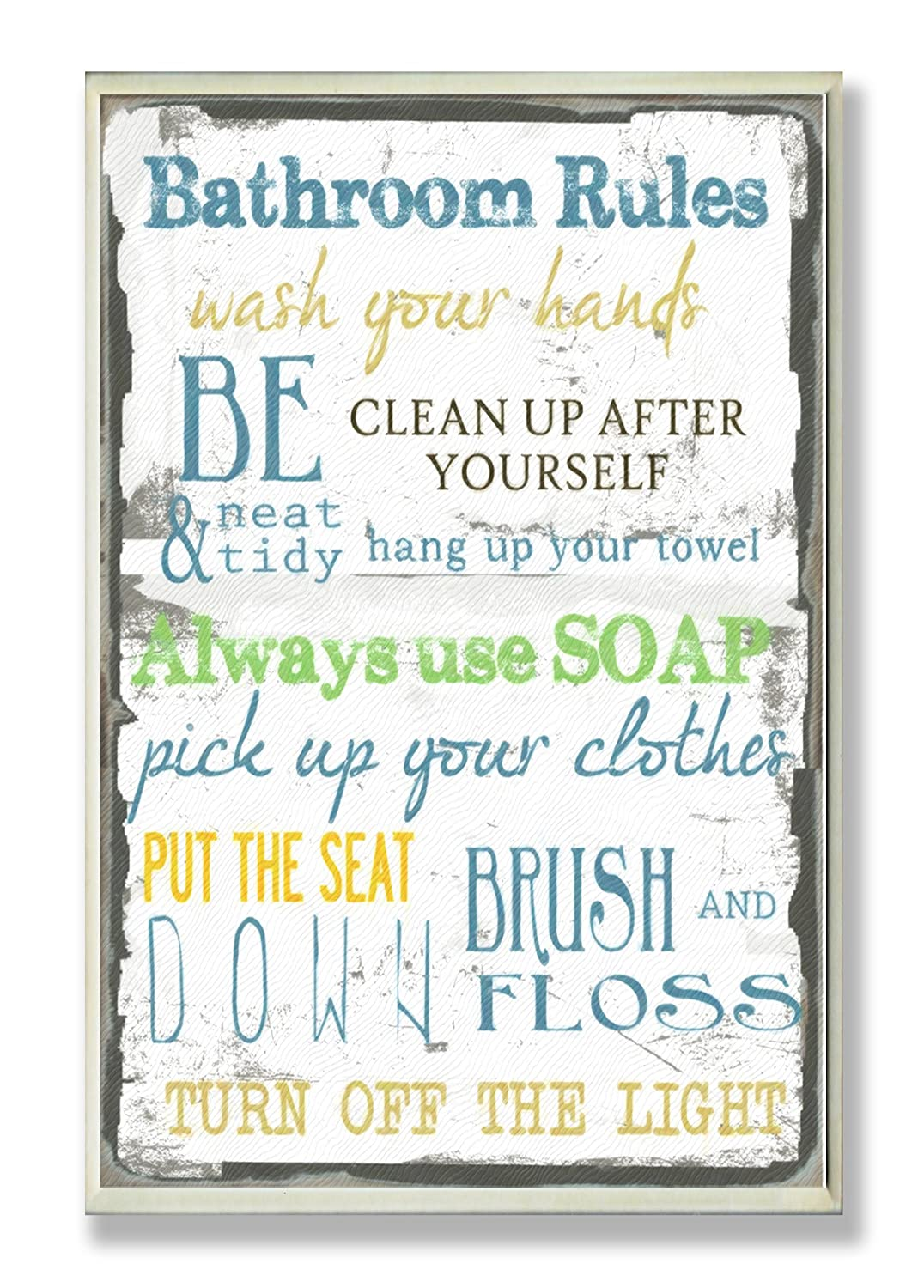 amazon com stupell home d cor bathroom rules typography bathroom rh amazon com