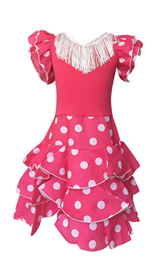 5ec198d60b19 La Senorita Spanish Flamenco Dress - Girls / Kids - Pink / White Niño  Deluxe (Size 4 - Length 65 cm 3-4 years): Amazon.co.uk: Toys & Games