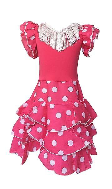 La Senorita Vestido Ropa Flamenco Niño Español Traje de Flamenca Chica/niños Rosa Blanco
