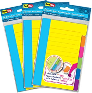 Redi-Tag Divider Sticky Notes, Tabbed Self-Stick Lined Note Pad, 60 Ruled Notes per Pack, 4 x 6 Inches, Assorted Neon Colors, 3 Pack (10245)