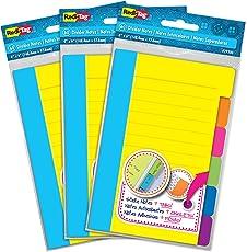 Redi-Tag - Separador de notas adhesivas (60 notas rayadas, 10 x 15 cm), varios colores, N/A, Paquete de 3