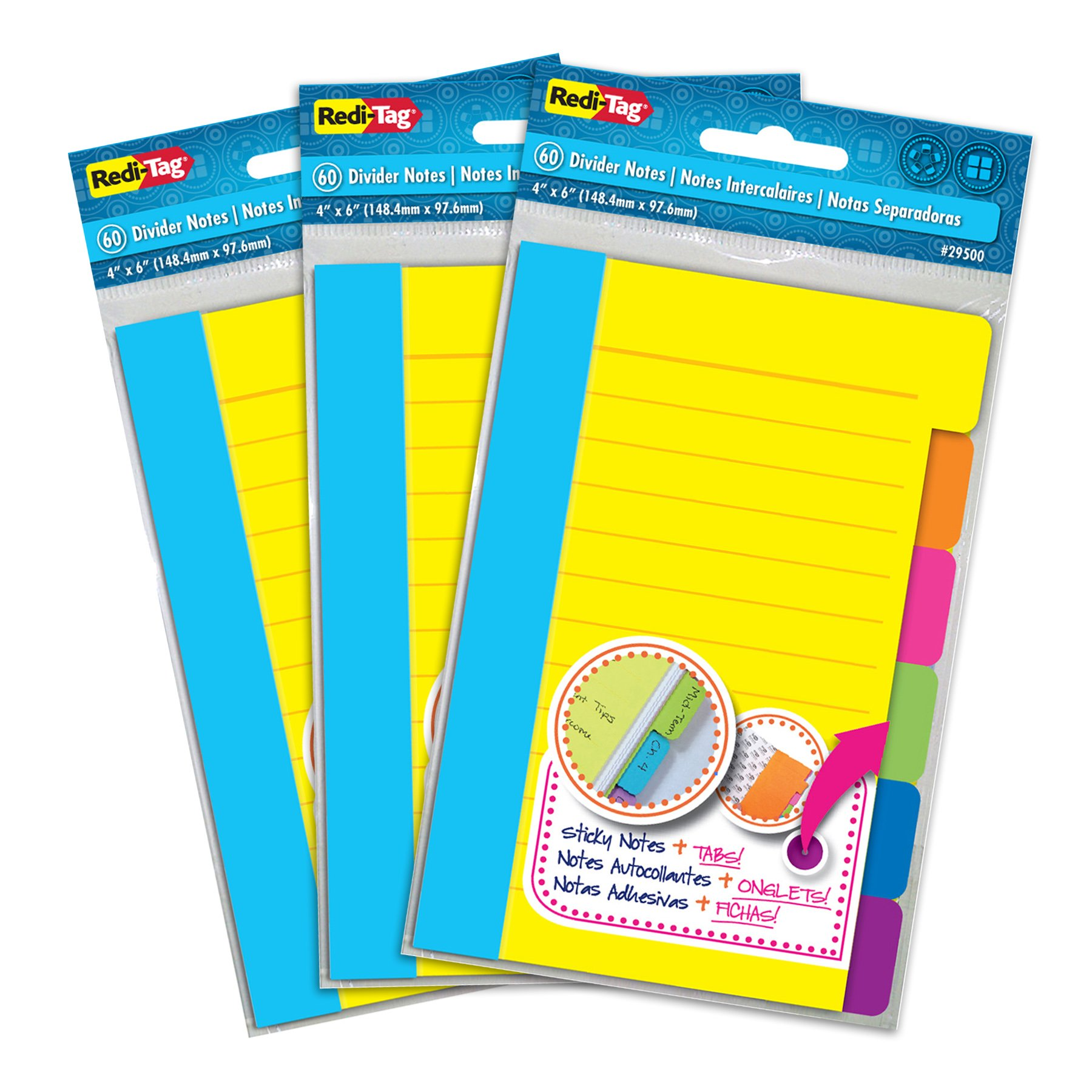 Redi-Tag Divider Sticky Notes, Tabbed Self-Stick Lined Note Pad, 60 Ruled Notes per Pack, 4 x 6 Inches, Assorted Neon Colors, 3 Pack (10245) by Redi-Tag