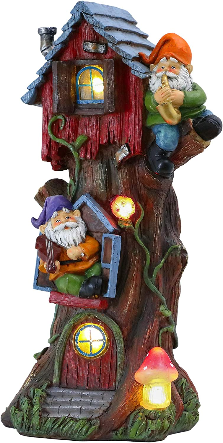 TERESA'S COLLECTIONS 14.8 Inch Gnome House Garden Statues with Solar Powered Garden Lights, Tree House Sculptures and Figurines for Outdoor Halloween Fall Patio Lawn Yard Decorations (Resin)
