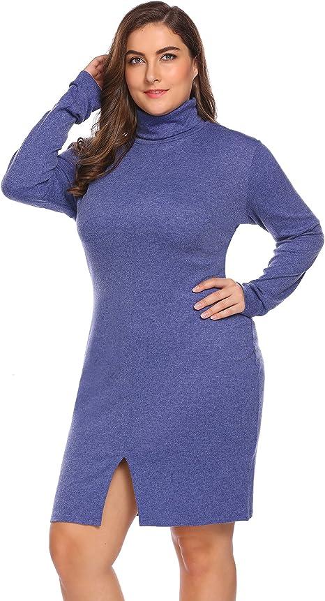 IN\'VOLAND Women\'s Plus Size Turtleneck Long Sleeve Knit Elasticity Bodycon  Slim Fit Sweater Dress