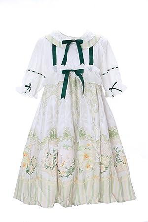 Kawaii-Story jsk DE 12 Pájaros Bird Color Crema Verde Vintage Baby Doll Cute Pastel