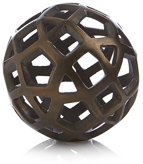 Geo Small Decorative Metal Ball | Crate and Barrel