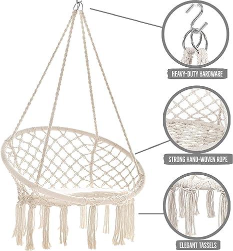 Castaway Living Large Handwoven Macrame Fringe Hammock Chair