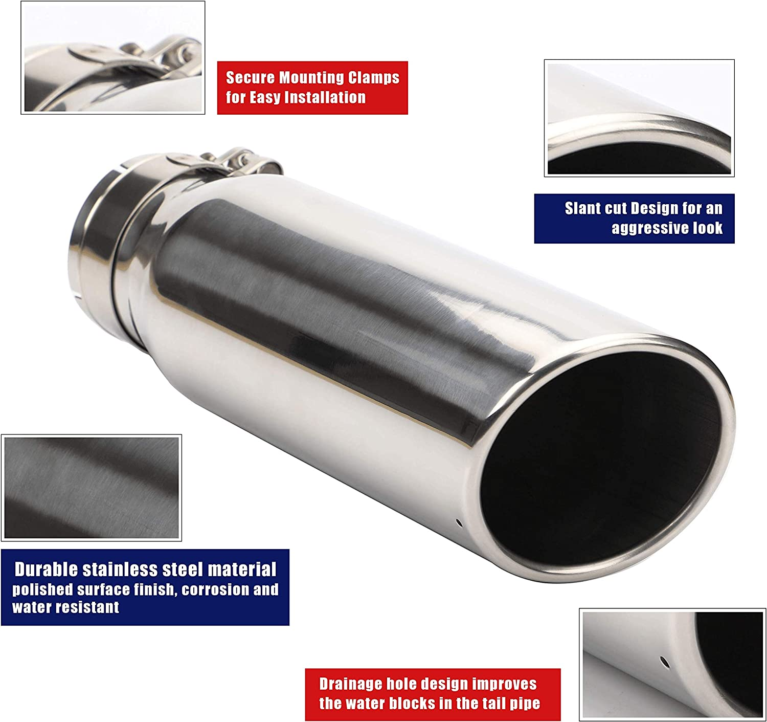 Exhaust Tip 3 Inch Inlet x 4 Inch Outlet x 12 Inch Long Chrome Polished Stainless Steel Angle Cut Rolled Exhaust Tip