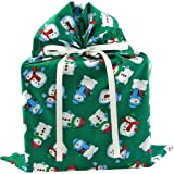 Snowmen on Green Reusable Fabric Gift Bag for Christmas (Large 20 Inches Wide by 27 Inches High)