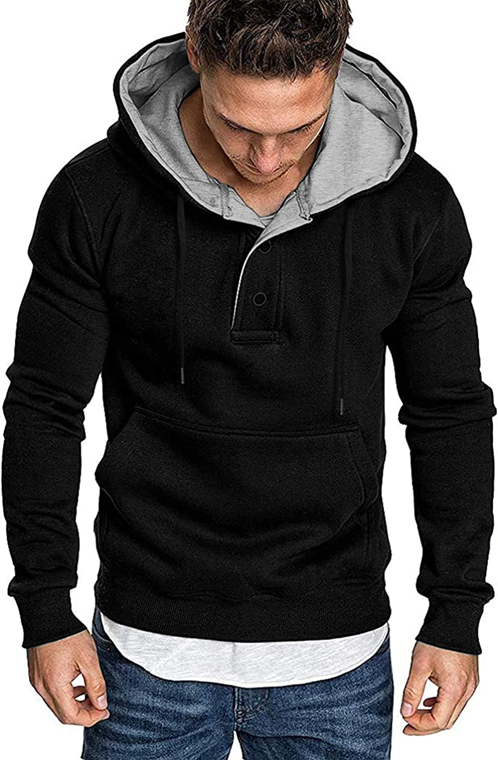 COOFANDY Men's Hoodies Sweatshirts Cotton Fleece Lightweight Long Sleeves Athletic Pullovers: Clothing