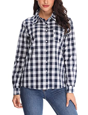 3c9ab6e4b53344 MISS MOLY Casual Plaid Button Down Shirts for Women Roll up Long Sleeve w  One Chest