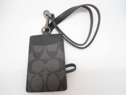 e0cd65d6096a Amazon.com : Coach Mens Signature Badge ID Lanyard Charcoal/Black F58106 :  Office Products