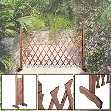 Expanding Portable Wooden Fence Screen Gate Kid Safety Dog Pet Patio Garden  Lawn