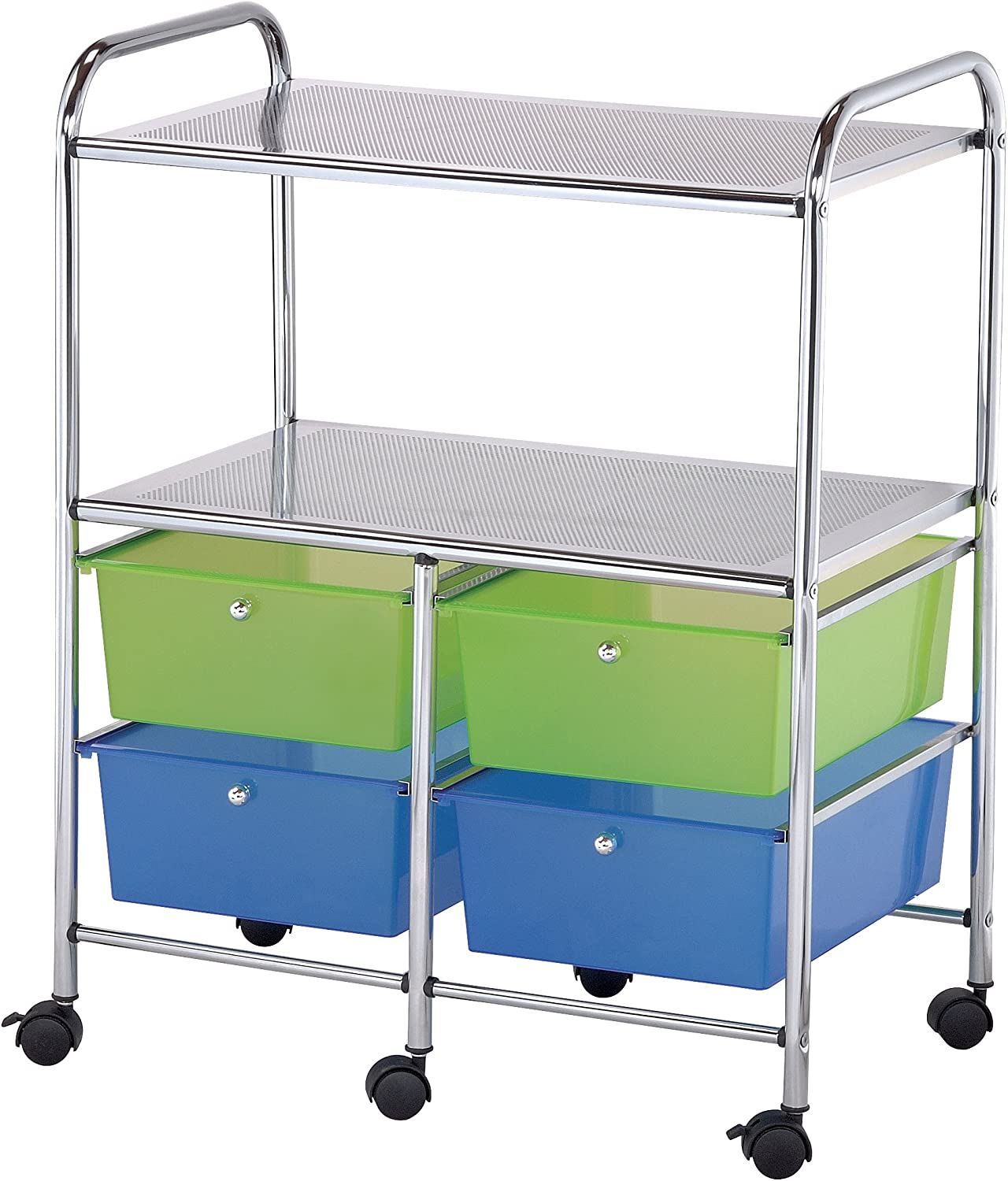 Blue Hills Studio SC4MCDW-S Storage Cart 4-Drawer Deep with 2-Shelf Multi-Colored