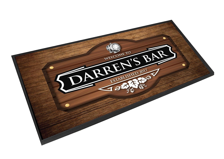 personalisierbar Holz Effekt Bier Barrel Bar Matte Runner Fußmatte Zähler