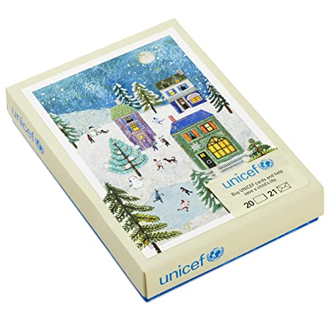 Unicef Christmas Cards.Hallmark Unicef Christmas Boxed Cards Holiday Scene 20 Cards And 21 Envelopes