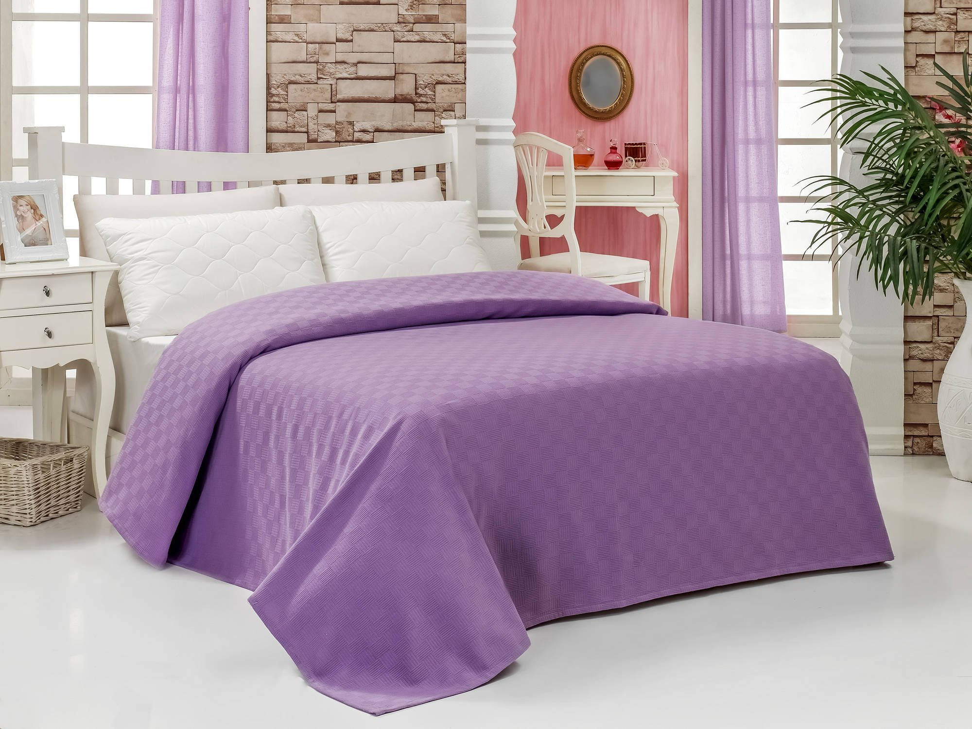 LaModaHome Colors Coverlet, 100% Cotton - Little Square Patterned Purple Coverlet - Size (78.7'' x 94.5'') for Full and Double Bed