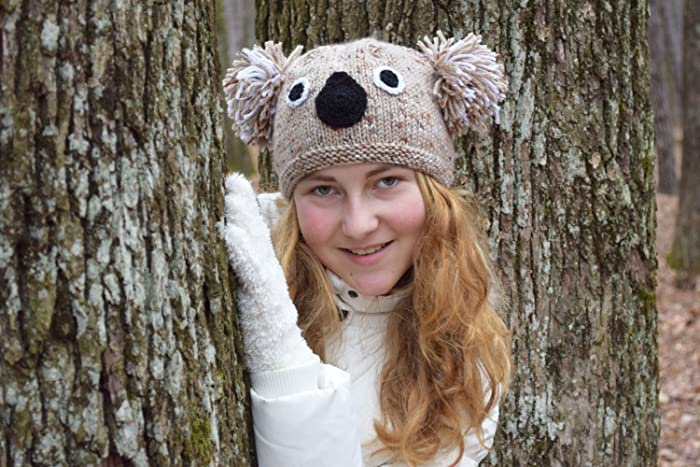 Koala knitted hat Koala knit beanie Girl beanie Teen girl beanie Animal hat  Girls hat Knit 82da6bcebd1