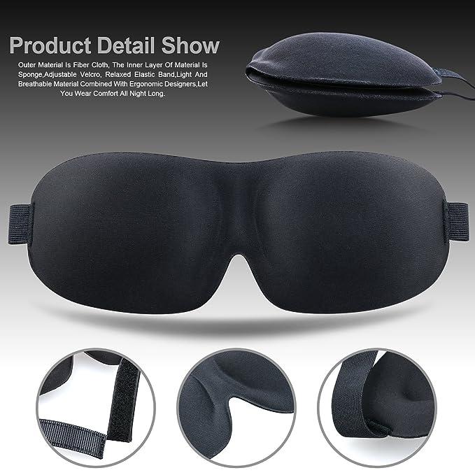 Spaisen Dormir máscaras 2 Unidades, Ligero y cómodo Super Suave Grande Ajustable 3D contorneada Ojo Máscaras para Dormir, Viajar, turnos de Trabajo para ...