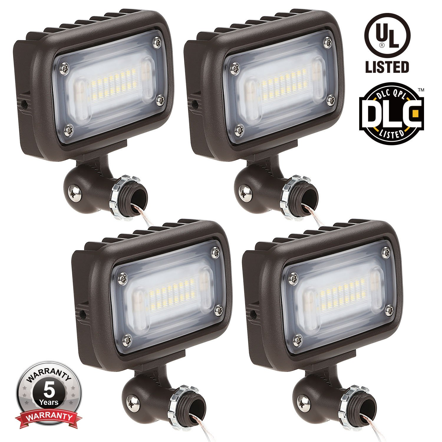 15W Outdoor LED Flood Light, 100W MH Equivalent, 1/2'' Adjustable Knuckle Mount, 1600lm, 5000K Daylight, 120-277V, Waterproof Security Landscape Lighting, UL-listed, 5 YEAR WARRANTY, Pack of 4