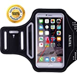 iPhone 6/6s Armband,iPhone 5/5C/5S/4/4S/SE,Galaxy S3/S4 Armband(4.1~4.7 inch) -[Ultra thin Lightweight] Tripky Sports Exercise Armband with [ID/Cash/Key Holder] [Sweat Resistant](Black)