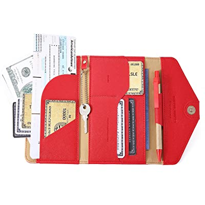 IVESIGN Travel Passport Wallet Trifold Envelope Document Organizer Holder With Free Pen