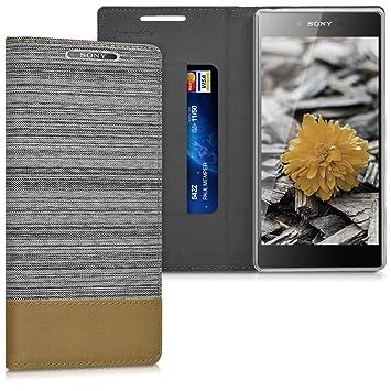 kwmobile Funda para Sony Xperia Z5 Premium - Carcasa de [Tela] y [Cuero sintético] - Case con [Soporte] en [Gris Claro/marrón]