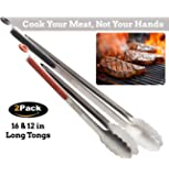 BBQ KITCHEN TONGS - Durable Locking Tongs Of Steel - Best Tongs For Cooking Food In The Sizes You Need - Long Metal Tongs For Grilling & Barbecue - Grill Your Meat And Not Your Hands!
