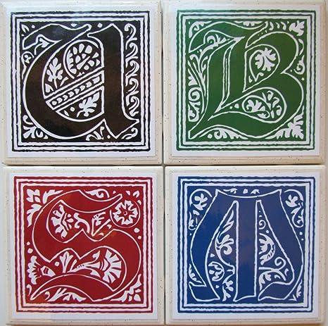 Drink  Bar Coaster Stone Coaster Personalized Ceramic Tile Coaster Fluer de lis Ceramic Coaster Set of 4 Monogram Coaster