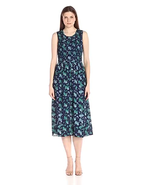 Lark & Ro Women's Sleeveless Smocked-Top Midi Dress, Green/Blue, Medium