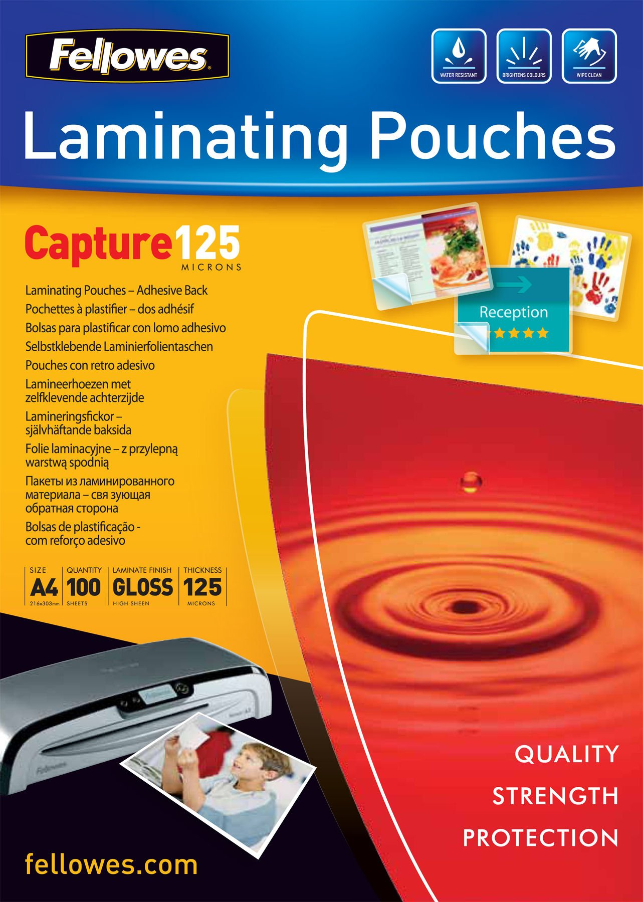 Fellowes 532890153289Capture Self-Adhesive Laminating Film A4125Microns Pack of 100Transparent